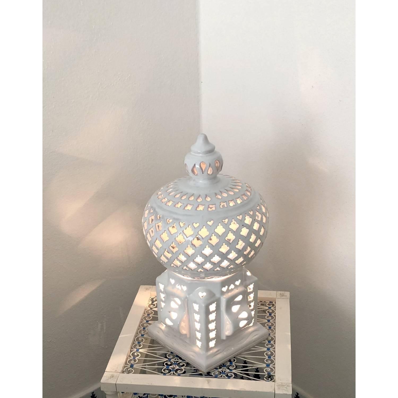 Lampada da tavolo in ceramica smaltata - Cage Asoux Bianca h44 Cm