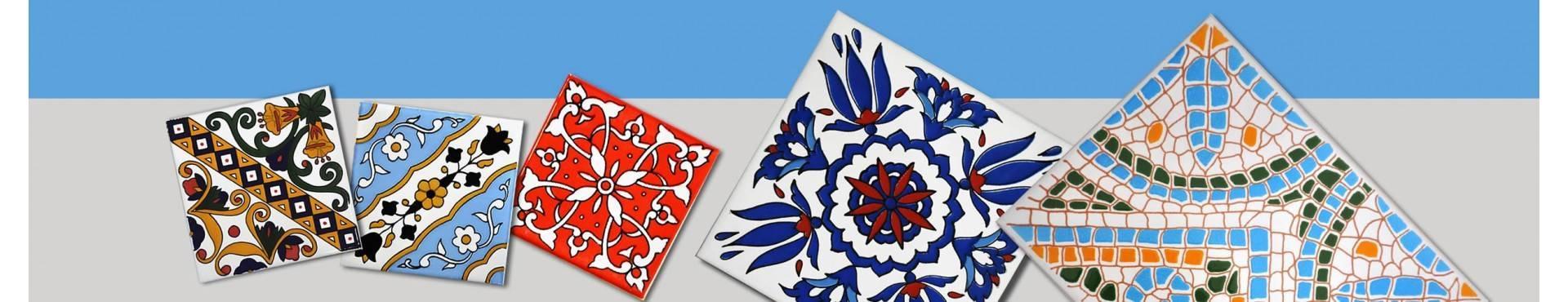 Mattonella in ceramica smaltata - Mattonelle Tunisine realizzate con Serigrafia Artigianale